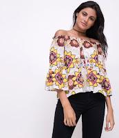 Moda Blusa Ombro a Ombro Floral