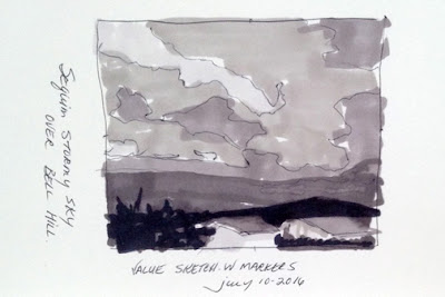 Marker sketch of sky to the southeast over Bell Hill - N.VanBlaricom