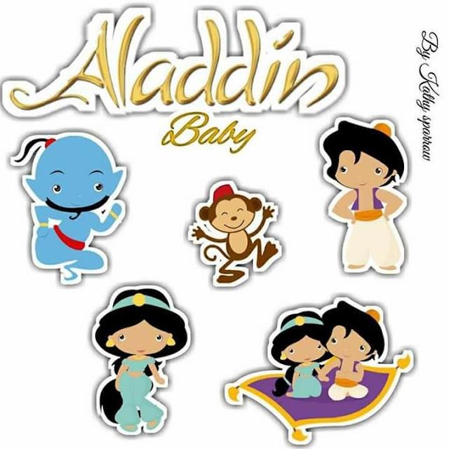 Aladino Bebé: Toppers para Tartas, Tortas, Pasteles, Bizcochos o Cakes para Imprimir Gratis.