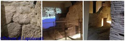 Particolari del basolato romano con alcuni muri portati alla luce durante gli scavi archeologici