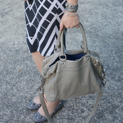 AwayFromTheBlue | metallic grey accessories Rebecca Minkoff MAB mini MAM bag