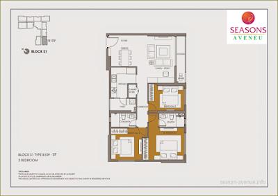 Mặt bằng căn hộ Seasons Avenue -  B109