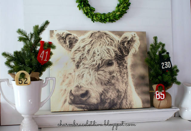 Farmhouse Scottish Highland cow tag wall art canvas