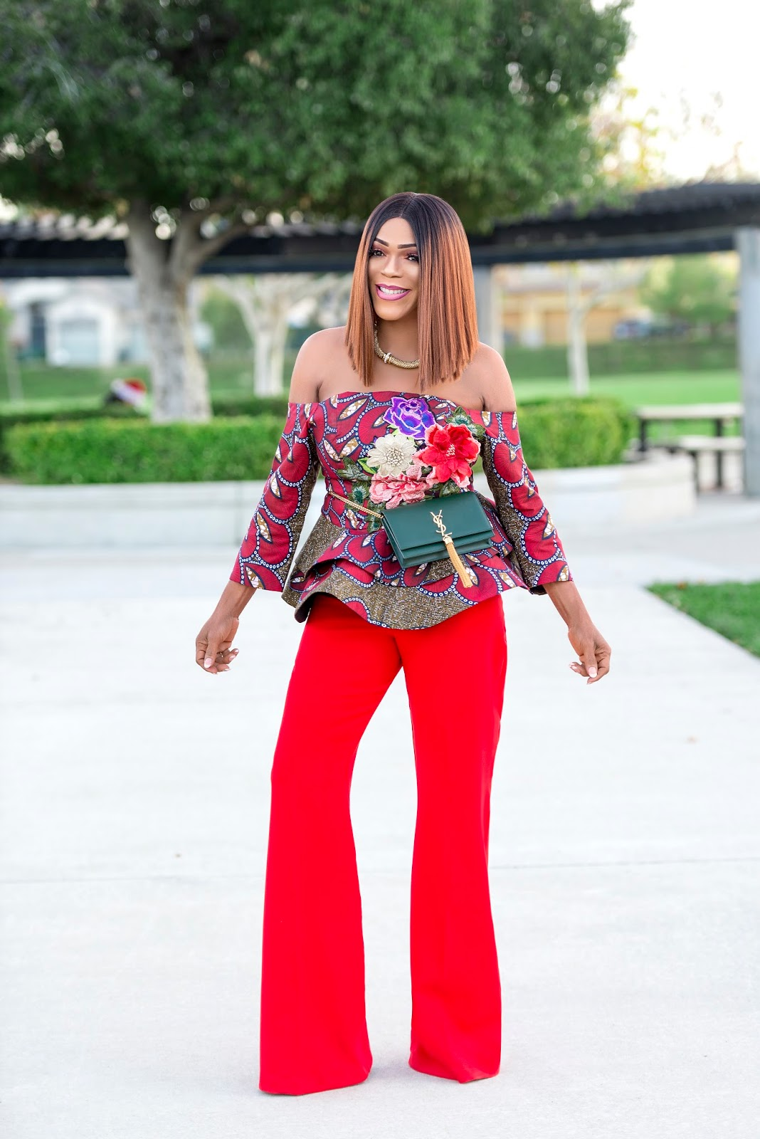 Ankara Peplum Top and Flare Pants