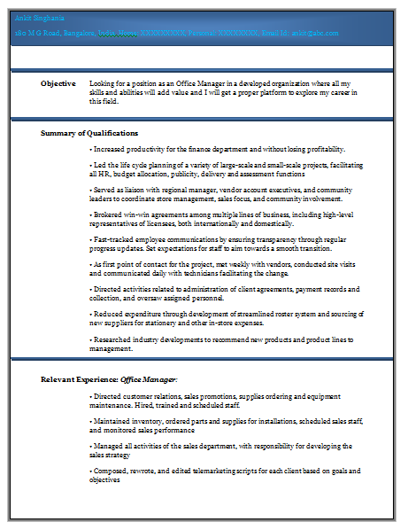 resume pattern for experienced