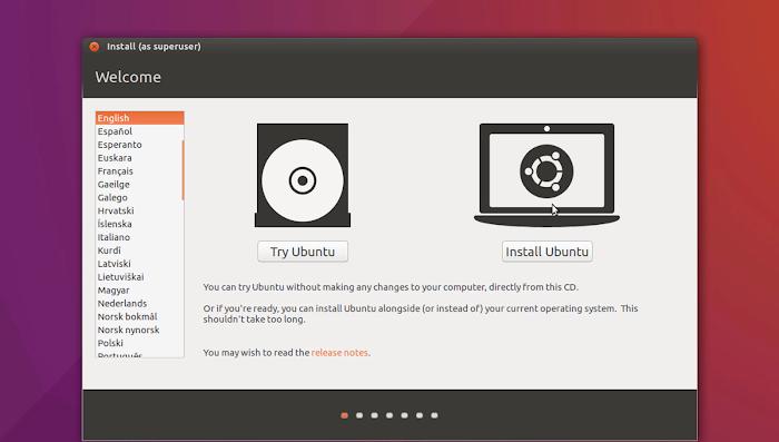 Try Ubuntu or Install Ubuntu