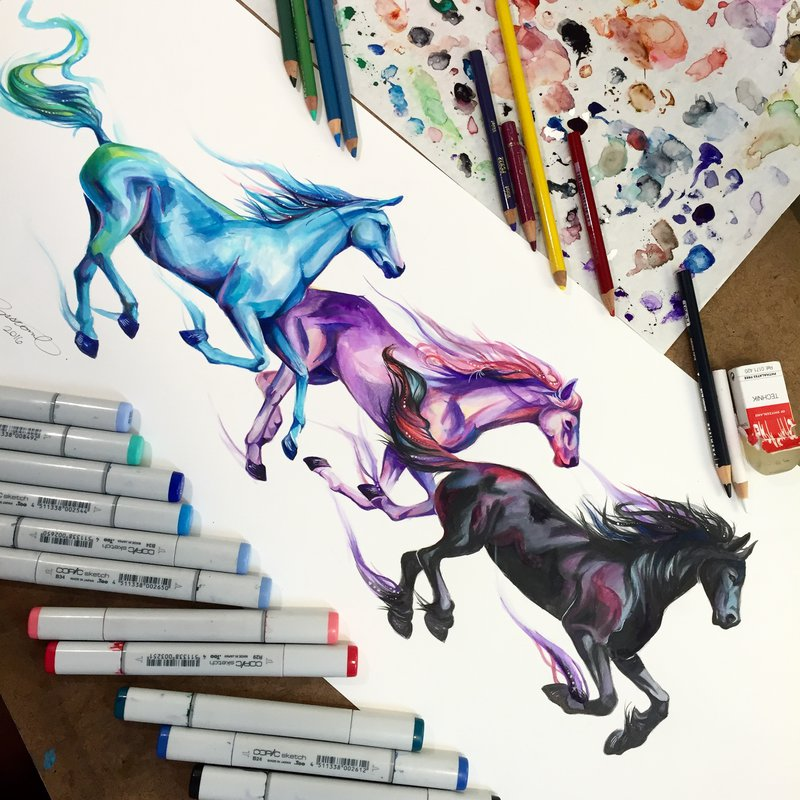 06-Fleet-Horses-Katy-Lipscomb-Colourful-Drawings-and-Illustrations-www-designstack-co