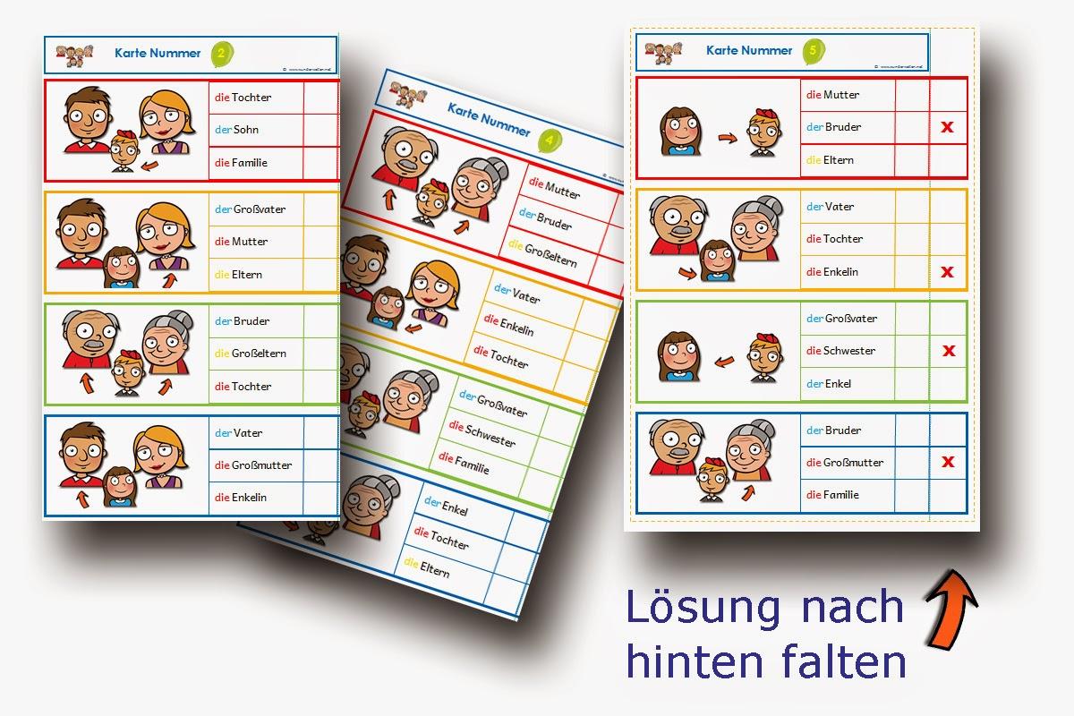 DaZ Material Familie - Klammerkarten zur Sprachförderung in der Grundschule kostenlos