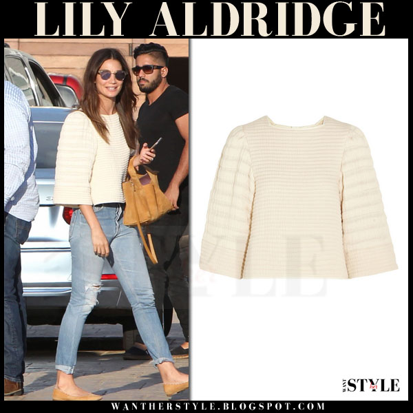 Lily Aldridge in cream cropped isabel marant greg sweater and ripped jeans what she wore models off duty