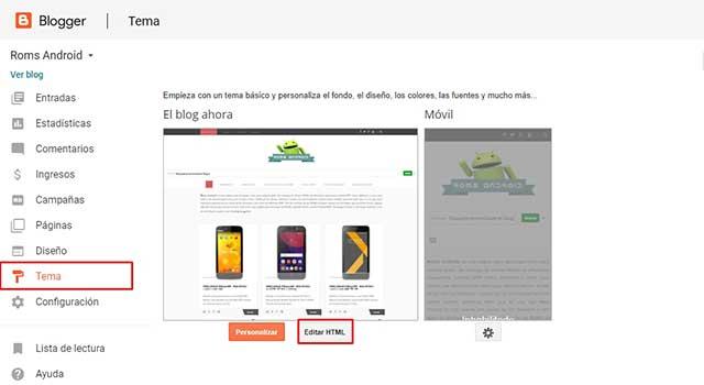 Accede a editar el HTML de tu blog