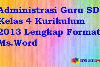 Administrasi Guru SD Kelas 4 Kurikulum 2013 Lengkap Format Ms.Word