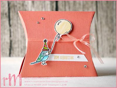 Stampin' Up! rosa Mädchen Kulmbach: Pillow Box mit Grußgezwitscher zum Geburtstag