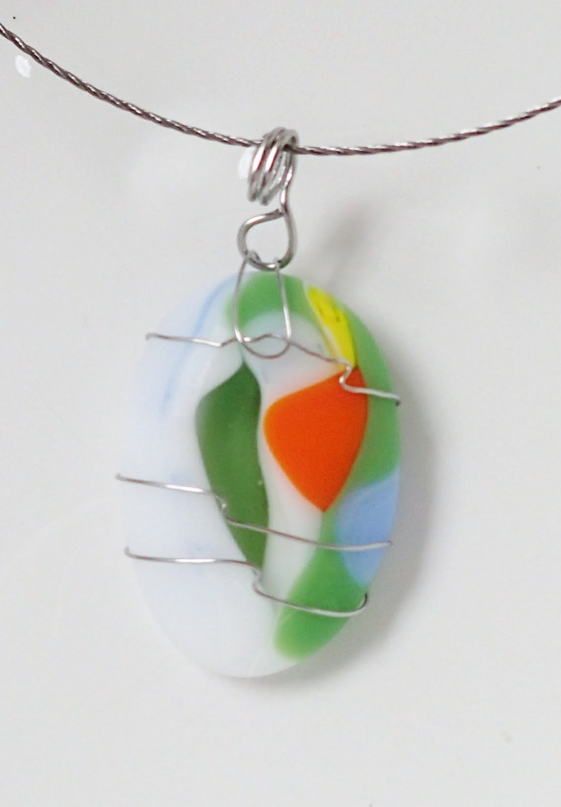 """Fused Glass """"Happy Stone"""" Pendants with a Stainless Steel Wire ..."""