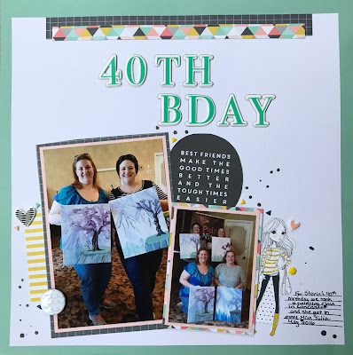Adult birthday layout featuring the Felicity Jane Caroline kit