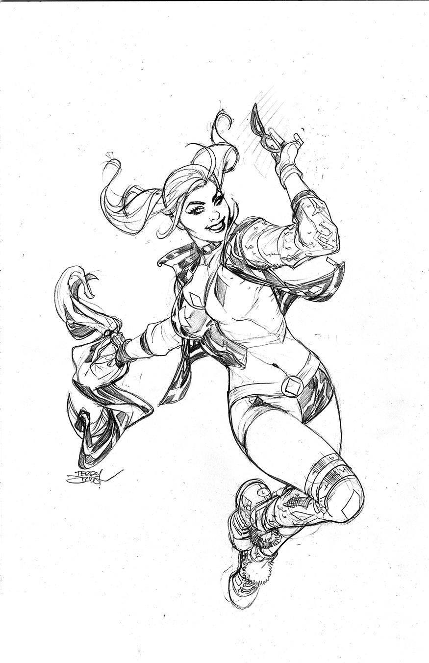 Line Art Harley Quinn : The bombshellter harley quinn variant cover step by