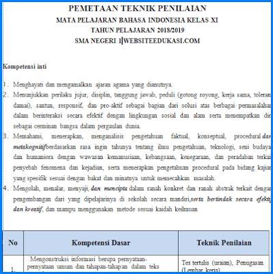Pemetaan KD dan Penilaian Bahasa Indonesia Kelas 11 K13 Revisi 2018