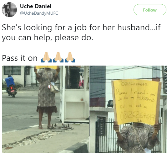Image result for woman carries placard for husband job