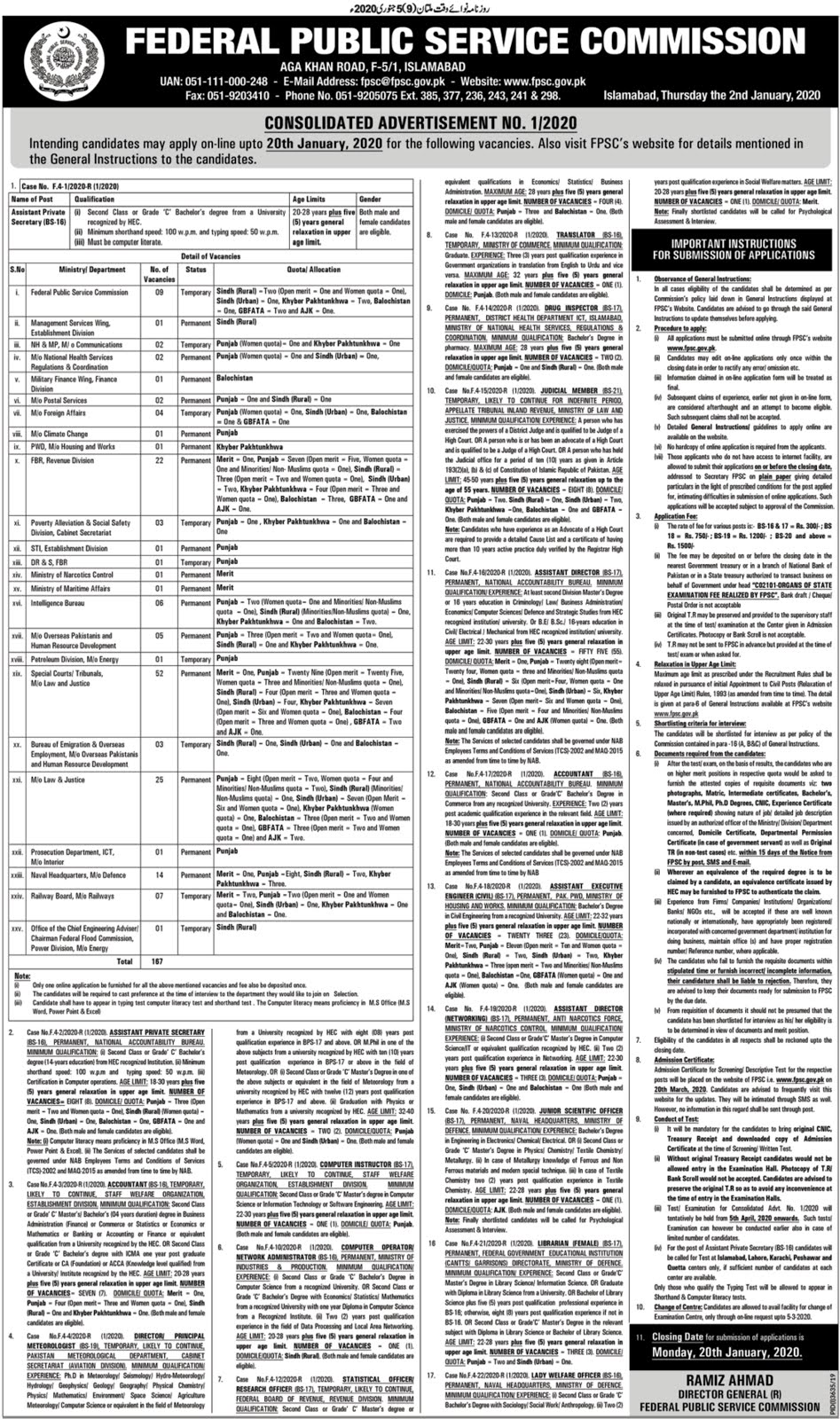 167+Vacancy Federal Public Service Commission FPSC Jobs 2020 Online Apply