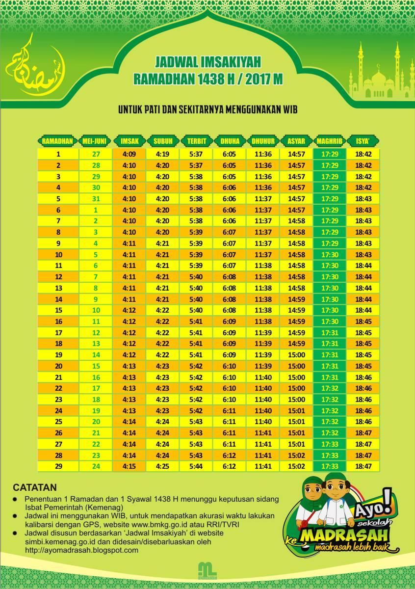 Jadwal Imsakiyah 2017 Semua Kab/Kota di Jawa Tengah - Ayo ...