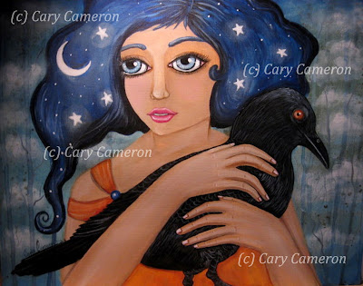 http://www.ebay.com/itm/ORIGINAL-folk-art-CROW-moon-BIG-EYE-girl-FANTASY-Low-Brow-Painting-CARYCAMERON-/222319910303?ssPageName=STRK:MESE:IT