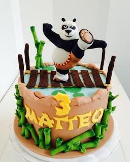 kue ultah kung fu panda lagi nendang