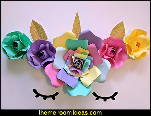Paper Flowers Unicorn Backdrop  unicorn party supplies - rainbow unicorn party decorations - unicorn birthday party - Unicorn Themed Party -  Unicorn Balloons  -  unicorrn cupcakes - rainbow decorations - Unicorn  Garlands - sequin tablecloth - tutu table skirt -  Unicorn Costume