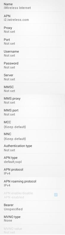 iWireless APN Settings for Android