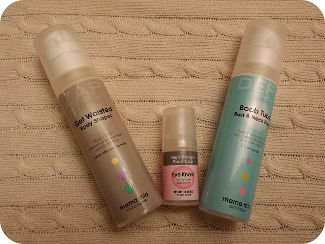 Mama Mio, skincare review, get waisted, boob tube, eye serum