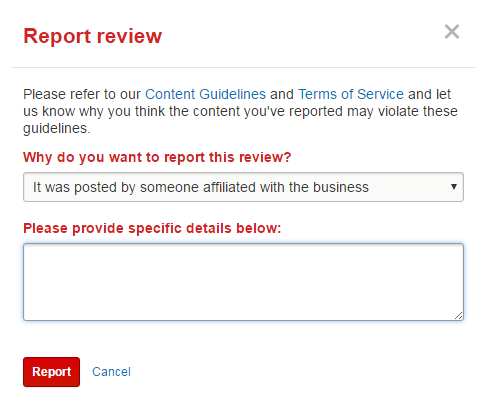 Report a review on Yelp