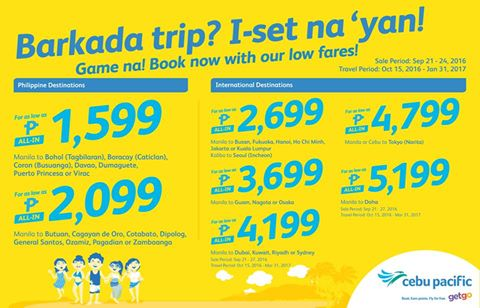 Cebu Pacific Air SEAT SALE Promo 2017