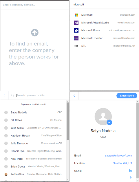 search for email of Satya Nadella