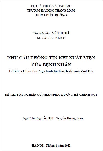 Nhu cầu thông tin khi xuất viện của bệnh nhân tại khoa Chấn thương chỉnh hình Bệnh viện Việt Đức