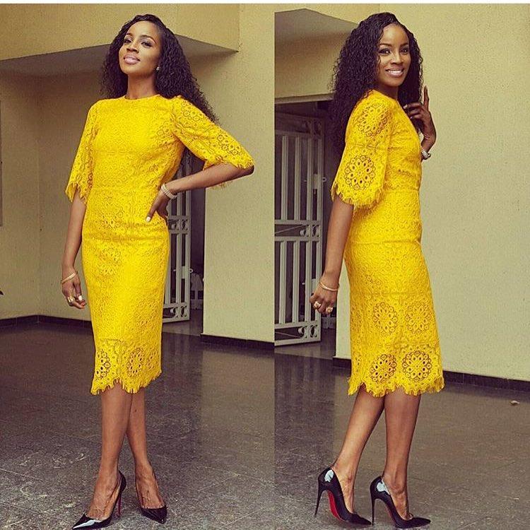 Yellow nigerian lace dress