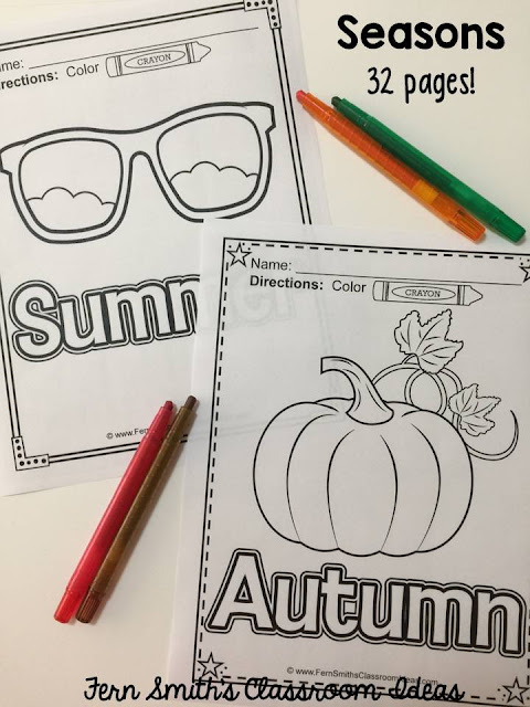 "Do You Teach the Seasons? Thirty-Two Coloring Pages for The Seasons"" Eight Pages Per Season. Summer, Winter, Spring and Fall. You and Your Students Will Adore Them! #FernSmithsClassroomIdeas"