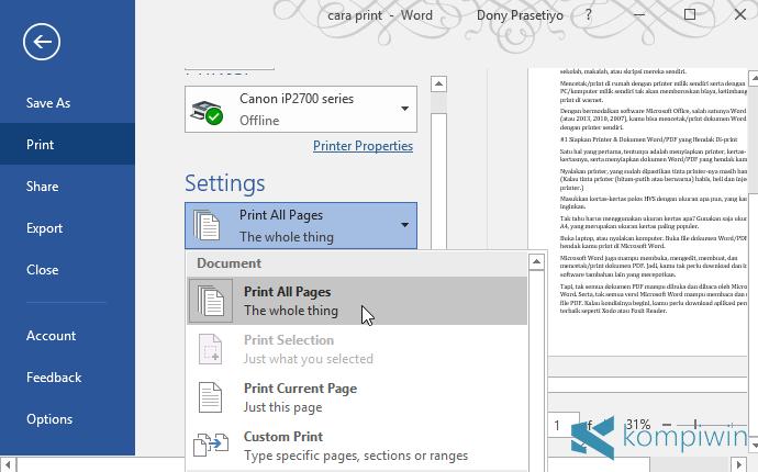print halaman tertentu pdf