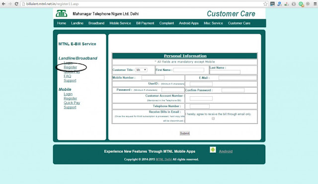 MTNL bill payment online Delhi - Register