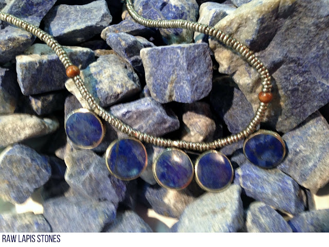 Raw lapis stones are a dull blue