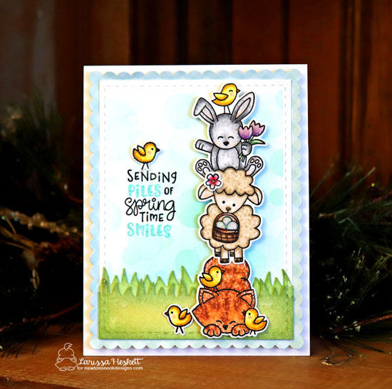 Spring Card with pile of Animals by Larissa Heskett | Spring Pile Up Stamp Set and Land Borders Die Set by Newton's Nook Designs #newtonsnook #handmade