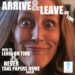 In this YouTube vlog, we kick off a series that seems super timely for us teachers: How to Leave on Time and NEVER Take Papers Home Again. Each episode will tackle a topic that will help us move steps closer to this elusive goal.            Today, we're talking about a crucial step: Arriving and Leaving on Time.