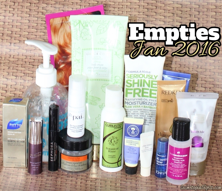Here are the beauty products I emptied in January 2016 and my thoughts on each.