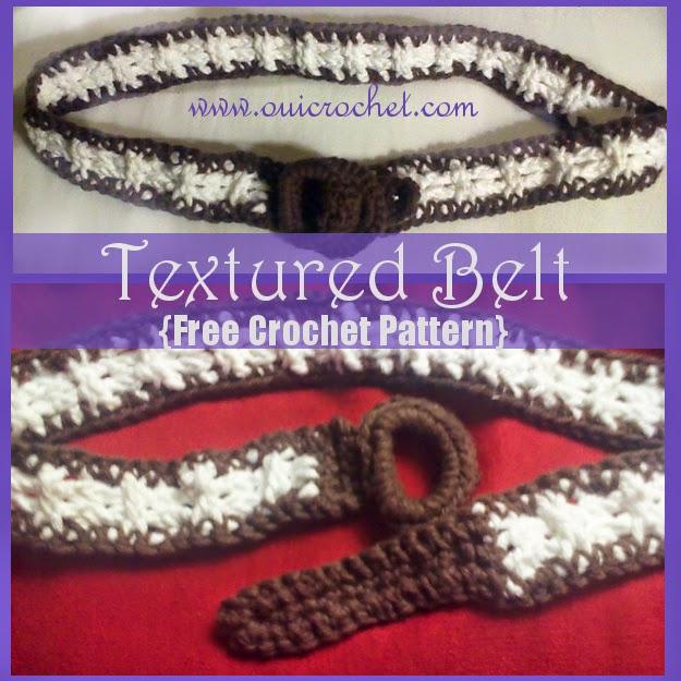 Crochet, Free Crochet Pattern, Crochet Belt, Textured Belt,