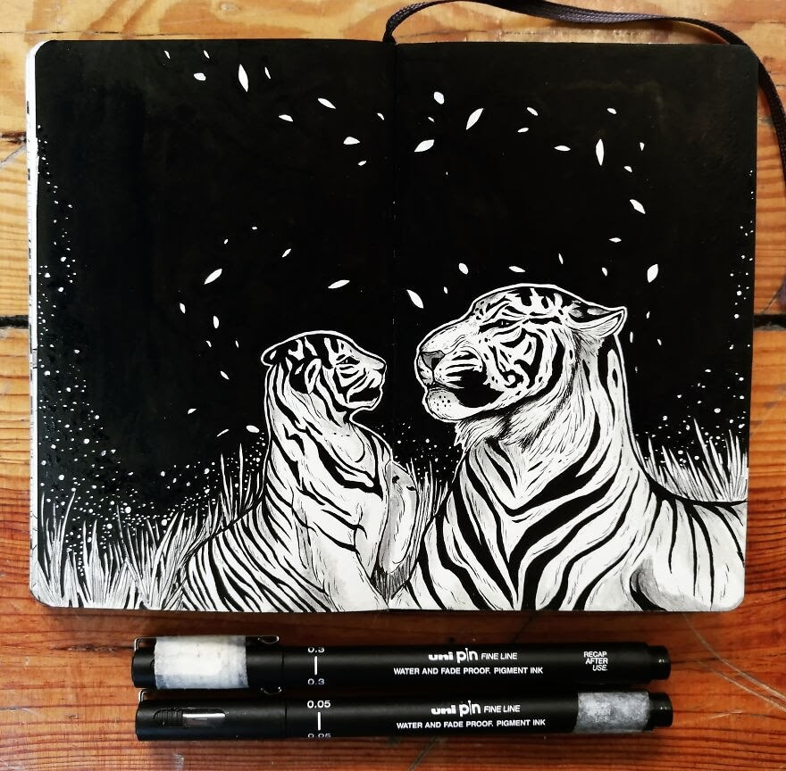 07-Mother-Tiger-and-Cub-Bráulio-Monteiro-Moleskine-Pen-and-Ink-Animal-Illustrations-www-designstack-co
