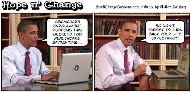 obama, obama jokes, political, humor, cartoon, conservative, hope n' change, hope and change, stilton jarlsberg, daylight saving time, obamacare, enrollment