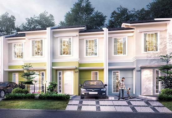 tampak depan rumah minimalis ukuran 5x15 meter 3 kamar tidur 2 lantai