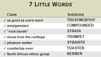 July 28 2017 - 7 Little Words Daily Puzzles Answers