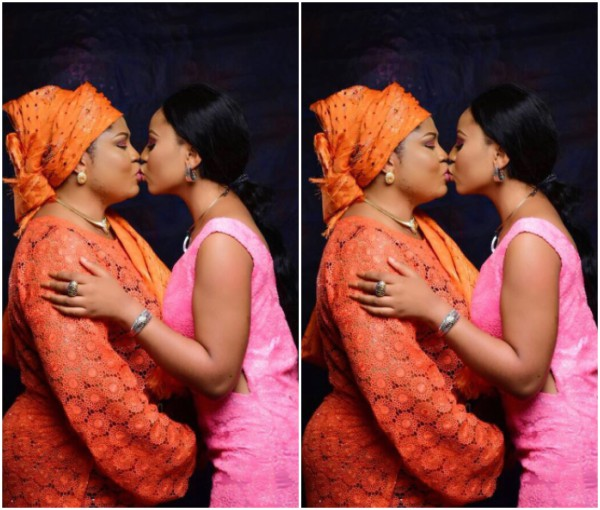 Actress Regina Daniels and her mom kiss in new photo.