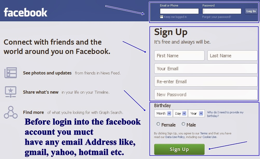 Log in your facebook account or sign up for new registration