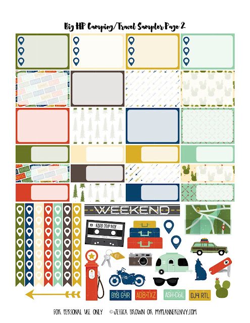 Free Printable Camping/Travel Sampler Page 2 for the Big Happy Planner on myplannerenvy.com