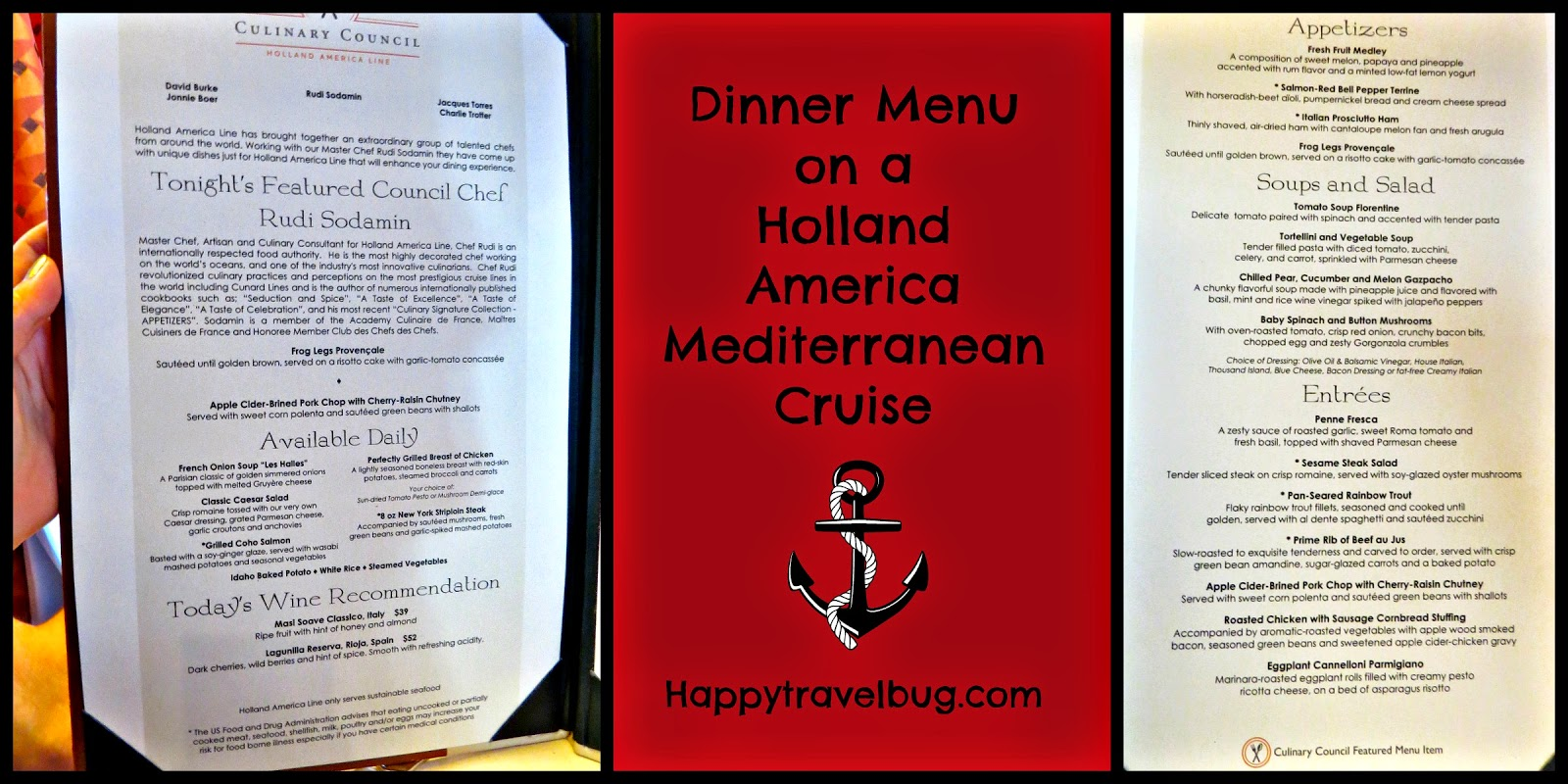 Dinner menu on our Holland America Mediterranean Cruise