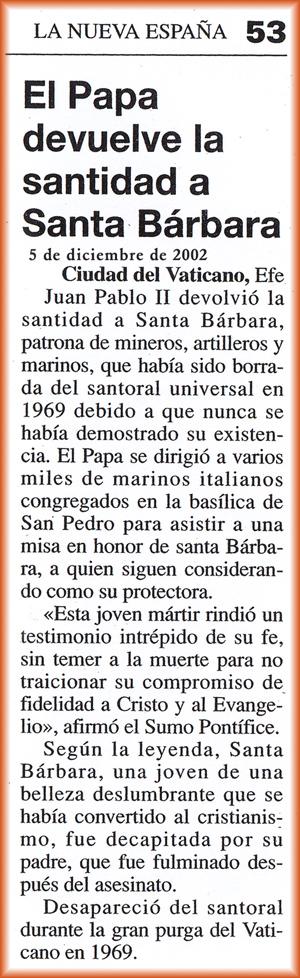 Santa Bárbara recupera la santidad